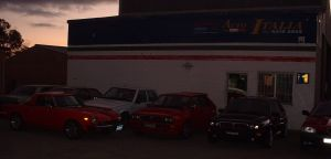 Fiats and Lancias Outside the Workshop